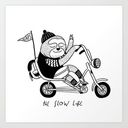 Sloth riding a bike Art Print