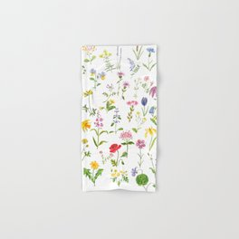 botanical colorful countryside wildflowers watercolor painting Hand & Bath Towel