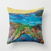 otters Throw Pillows featuring Otters at the Beach by Caroline Scagel