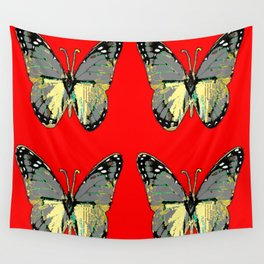 CHARCOAL GREY WESTERN BUTTERFLIES ON RED Wall Tapestry