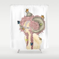 ram Shower Curtains featuring Ram by Melissa Hamid