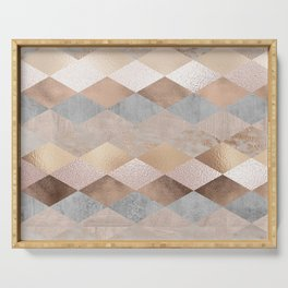 Copper and Blush Rose Gold Marble Argyle Serving Tray