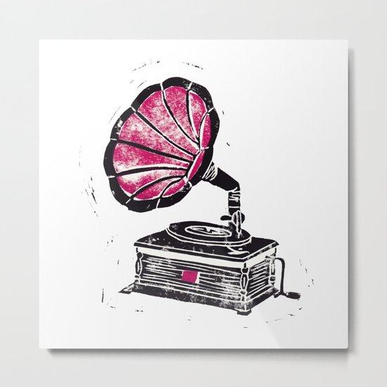 Linocut Gramophone Metal Print