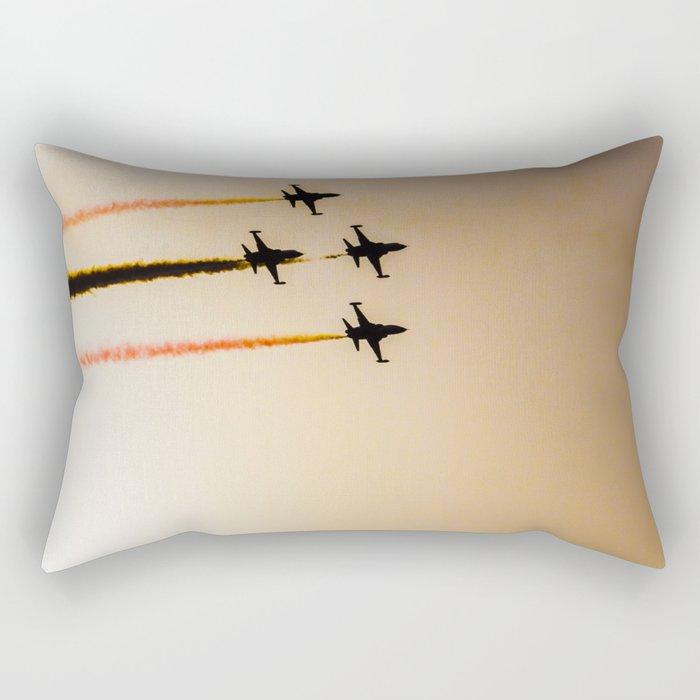 Turkish acrobatic aviation squadron flying over Izmir (Turkey) Rectangular Pillow