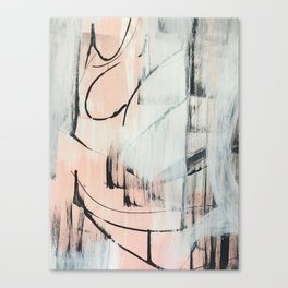 Sweet Tart: a minimal abstract mixed-media piece in pink black and white by Alyssa Hamilton Art Canvas Print