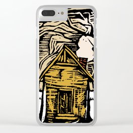 Simplify Cabin Woods Linocut Clear iPhone Case
