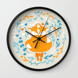 Foxes in love - Grey Wall Clock