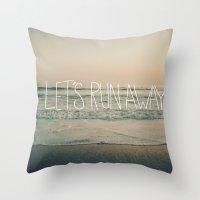 leah flores Throw Pillows featuring Let's Run Away by Laura Ruth and Leah Flores  by Laura Ruth