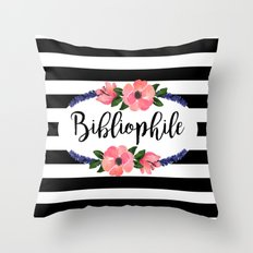 Bibliophile - Stripes & Flowers Throw Pillow