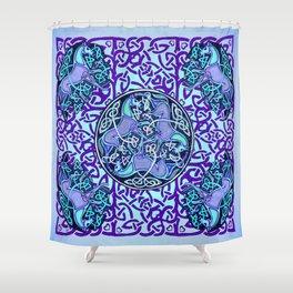 7 Blue Celtic Horses Shower Curtain