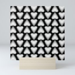White striped hearts on a black background. Mini Art Print
