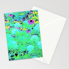 Impressionistic Aqua Garden Landscape Hydrangeas Stationery Cards