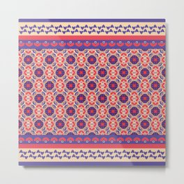 vintage geometric pattern purple and pink Metal Print