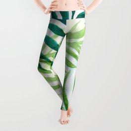 Watercoloured Green Leaf Leggings