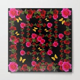 BLACK PINK ROSE & YELLOW BUTTERFLIES GARDEN ART Metal Print