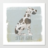 great dane Canvas Prints featuring Great Dane by 52 Dogs