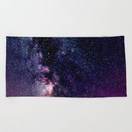 The Milky Way Midnight Blue & Purple Beach Towel