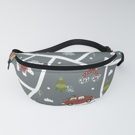 Illustrated Christmas Map Cozy Nordic Style Fanny Pack