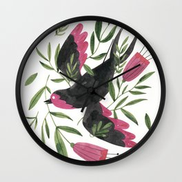 Swallow with Flowers Wall Clock