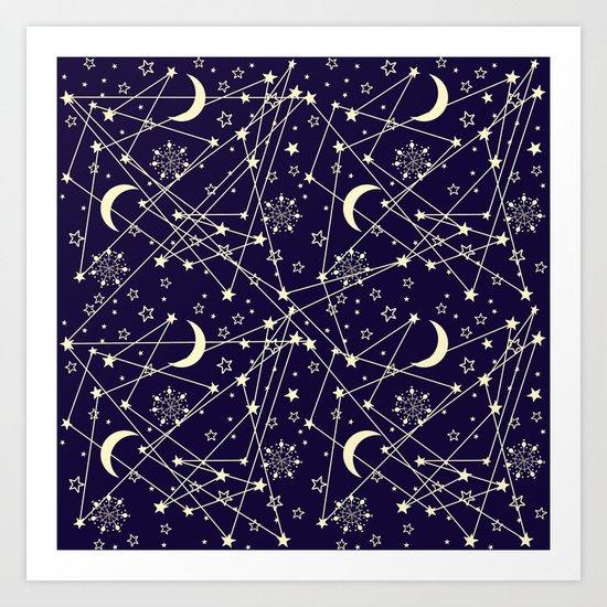 Sun Moon Stars Art Print