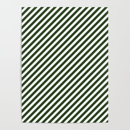 Small Dark Forest Green and White Candy Cane Stripes Poster