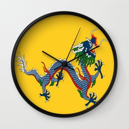 Chinese Dragon - Flag of Qing Dynasty Wall Clock