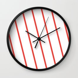Yacht style. Red diagonal stripes. Wall Clock