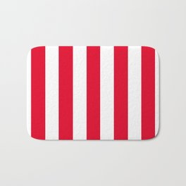 Cadmium red - solid color - white vertical lines pattern Bath Mat
