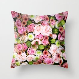 Bed of Roses Pink White Throw Pillow