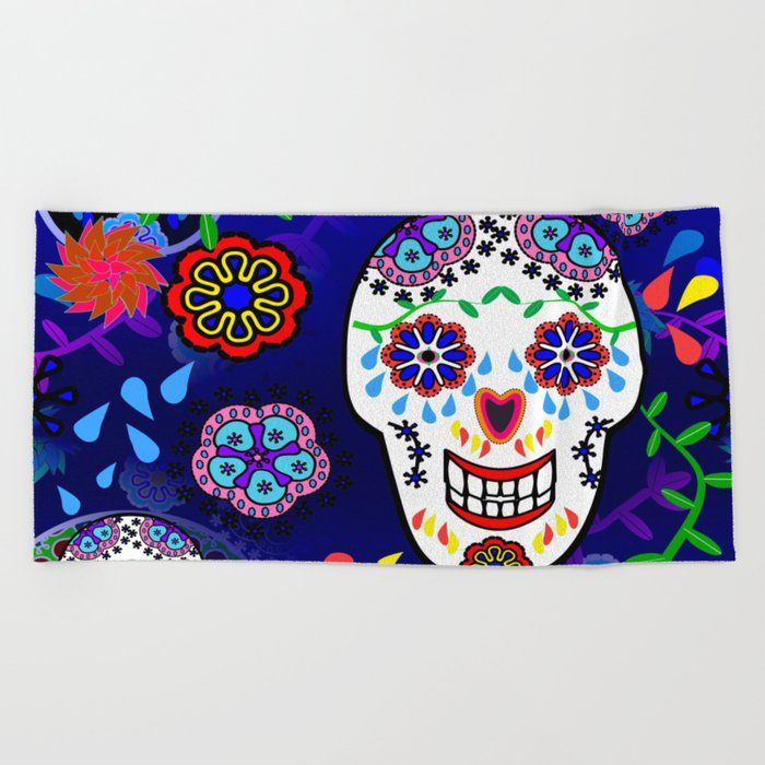 Sugar Skulls in Blue Beach Towel
