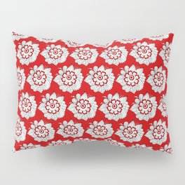 Background abstract red doodle-flowers, pattern, vector, texture design. Pillow Sham