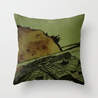 return Throw Pillows featuring Return by Stuckey