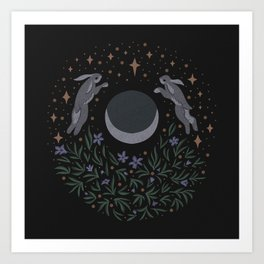 Hares and the Moon Art Print