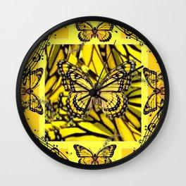 GOLDEN YELLOW MONARCH BUTTERFLIES MELODY Wall Clock