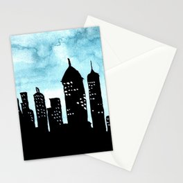 Cityscape Watercolor Painting Stationery Cards