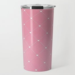 Modern coral pink white geometric pattern Travel Mug