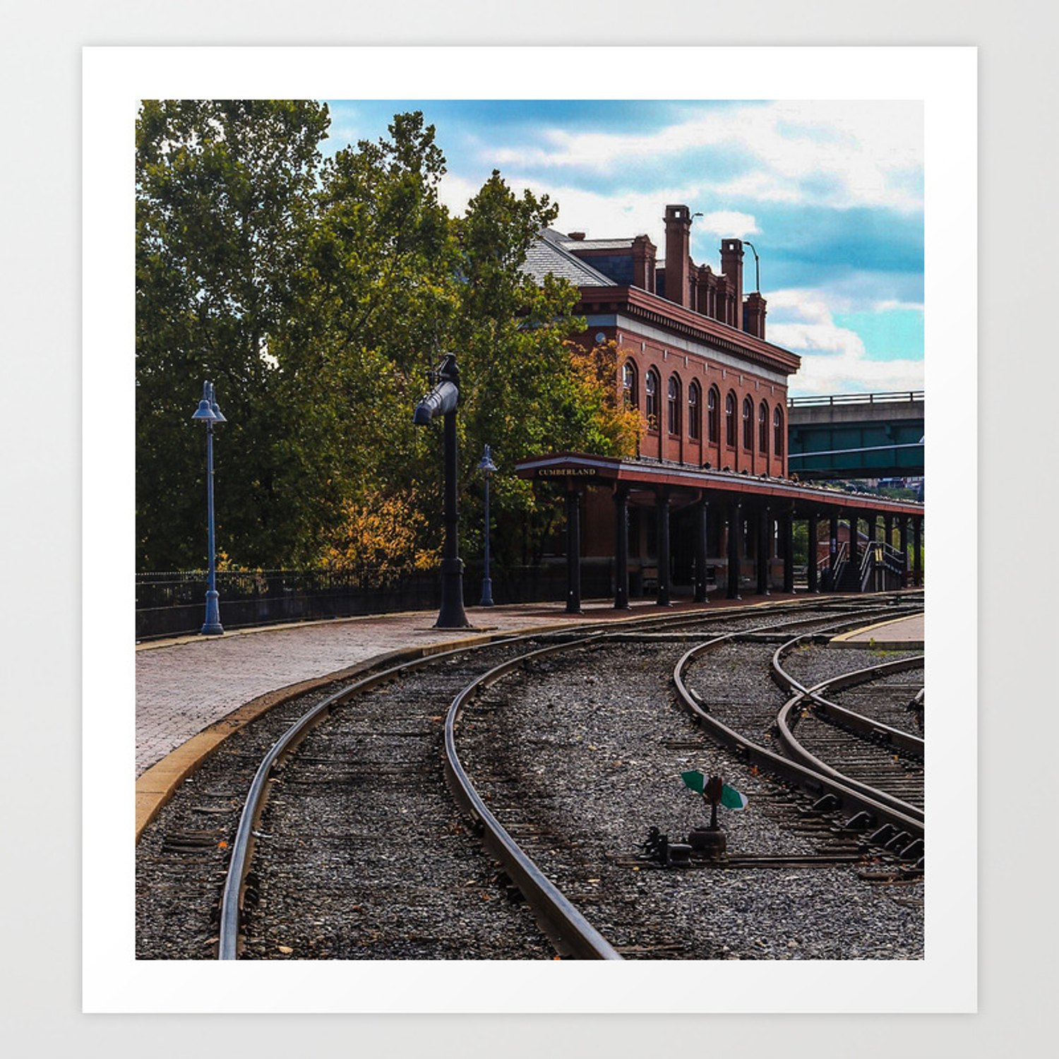 Pulling Into Cumberland Maryland Train Station Art Print By