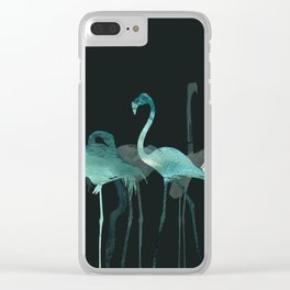 Cold Flamingos in the Night Clear iPhone Case