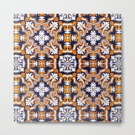 Portuguese Tiles Azulejos Blue Orange Pattern Metal Print