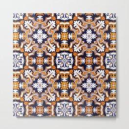 Portuguese Tiles Azulejos Blue Orange Pattern Metal Print