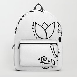 Three Tulips Doodle Art – Black and White Backpack