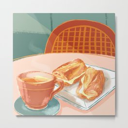 Coffee and Baguette Metal Print