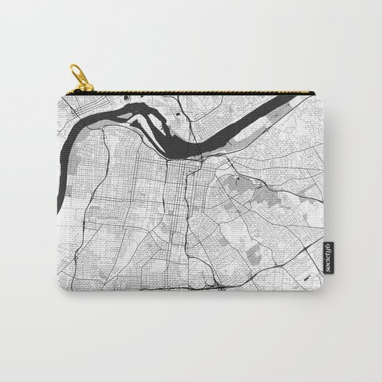 Louisville Map Gray Carry-All Pouch