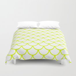 Chartreuse Fish Scales Pattern Duvet Cover