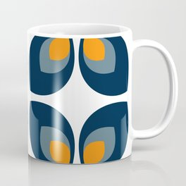 Minimal Art Mid Century Modern Leaf Flower Pattern Blue and Orange Coffee Mug