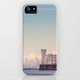 Miramar Castle with Italian Alps in background. Trieste Italy iPhone Case