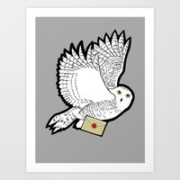 hedwig Art Prints featuring Hedwig by AriesNamarie