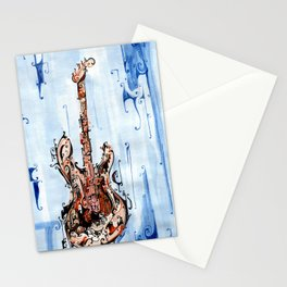 red on blue guitar Stationery Cards