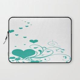 Aquamarine Valentine Hearts On A White Background Laptop Sleeve