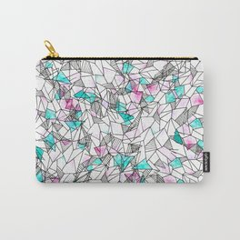 Pink and Teal Abstract Watercolor and Geometric Carry-All Pouch
